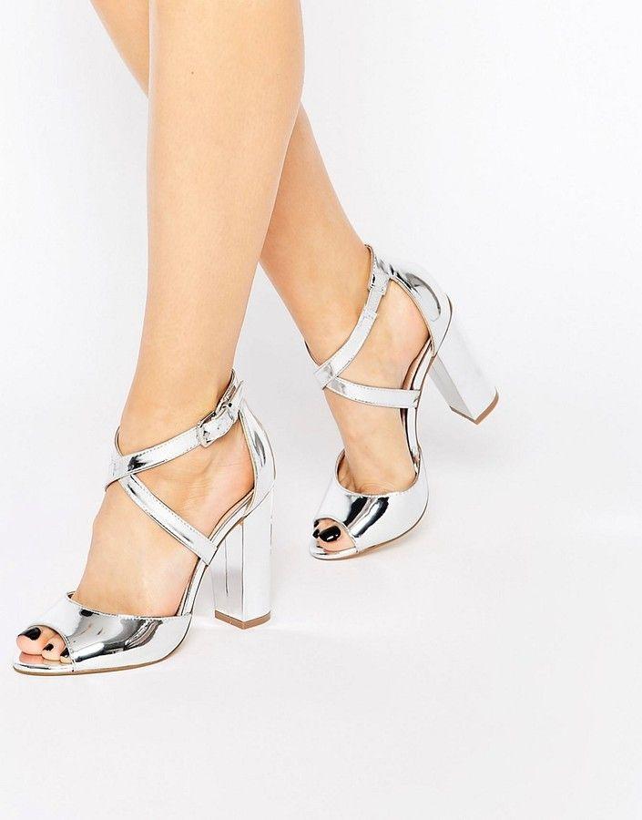 Lipsy Violet Silver Cross Strap Block Heel Sandals                              …
