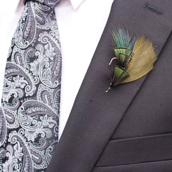 Mens Fly Fishing Wedding Boutonniere in Olive by TheRuggedWoodsman