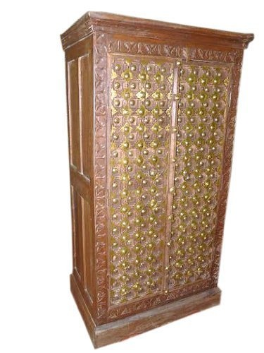Brass Old Door Armoire Hand Carved Teak Wood Cabinet Furniture From India 60x30 By Mogul