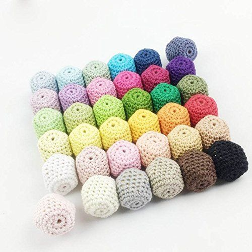 U.D. Let's Make - 50pc/lot Crochet Round Wooden Beads cro...