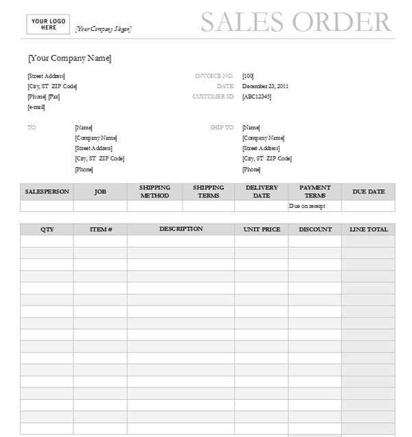 Sales Order Templates Word Template Order Form Template