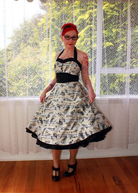 Rockabilly Music Note Fiona Dress with Halterneck by PixiePocket