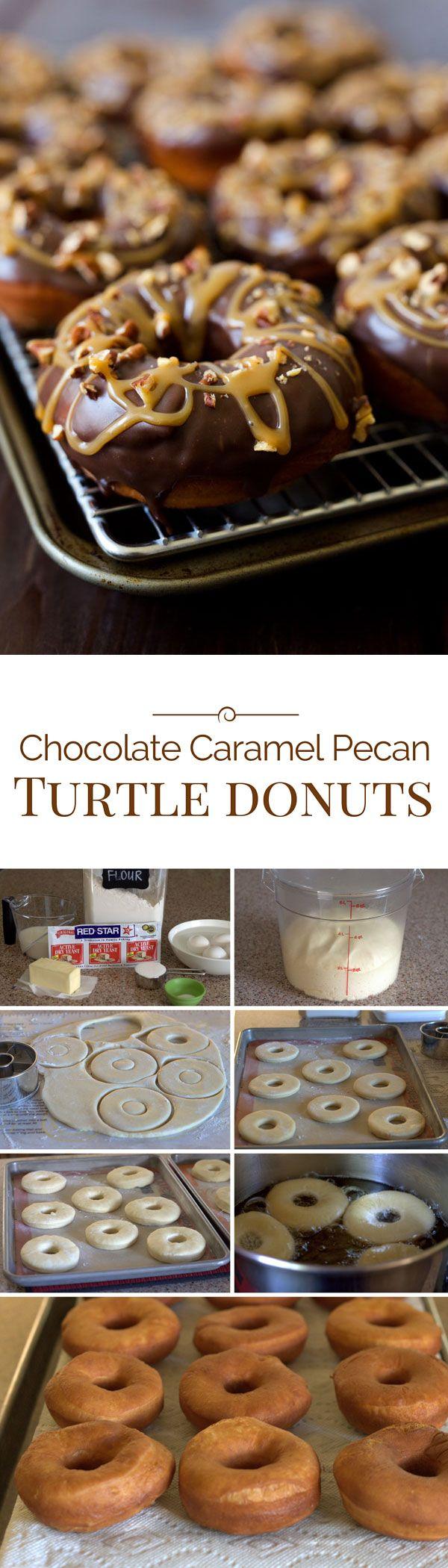 Chocolate Caramel Pecan Turtle Donuts