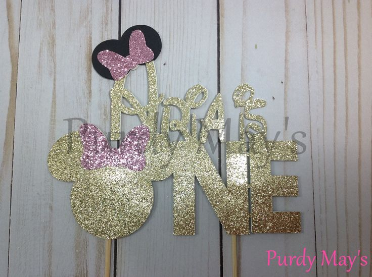 Minnie Mouse Cake Topper, Custom Disney Font Name Cake Topper, Minnie Mouse Personalized Cake Topper, Glitter Cake Topper, Customized by PurdyMays on Etsy https://www.etsy.com/listing/538842892/minnie-mouse-cake-topper-custom-disney