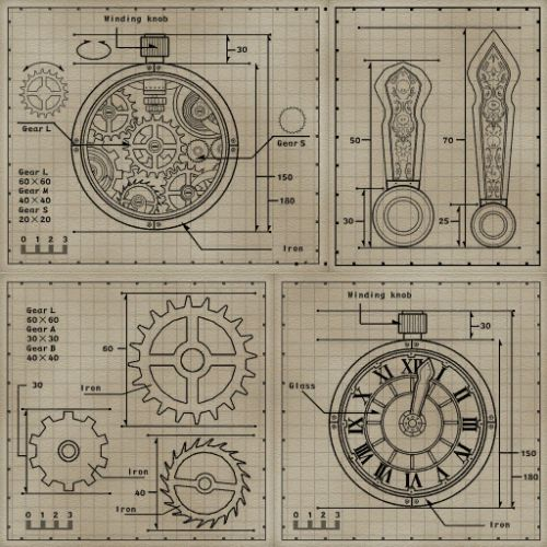 """suppermariobroth:  """"Diagrams seen in the background of the Tick Tock Clock track in Mario Kart 8.  """""""