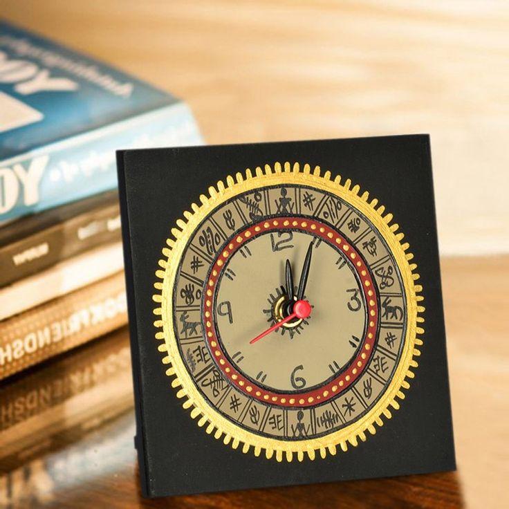 Warli Handpainted Table Clock 5*5 Inch Black | #simple #Clocks&Timepieces #Decor #simple, #Clocks&Timepieces, #Decor,