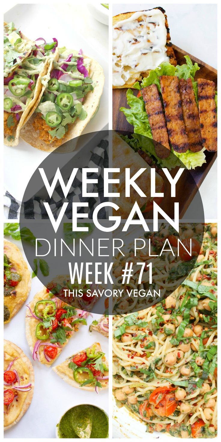Weekly Vegan Dinner Plan #71