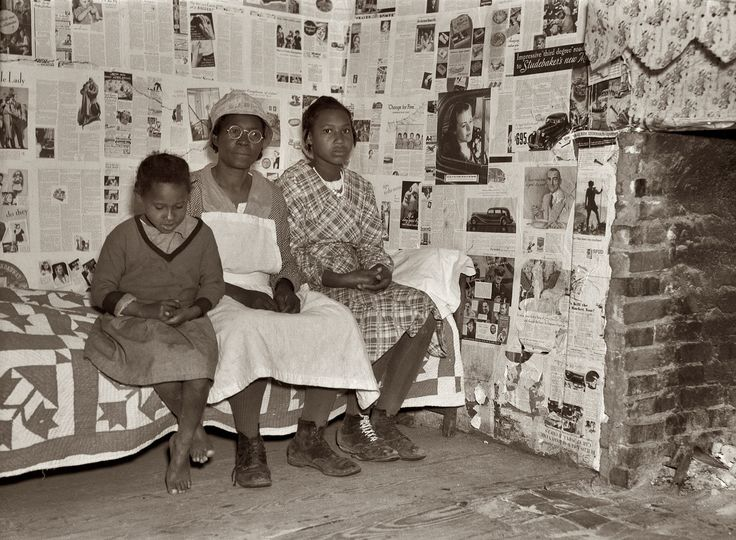 "February 1937. ""Negroes at Gee's Bend, Alabama. Descendants of slaves of the Pettway plantation. They are still living very primitively on the plantation."" Here we see one of the celebrated Gee's Bend quilts. Medium format nitrate negative by Arthur Rothstein for the Farm Security Administration."