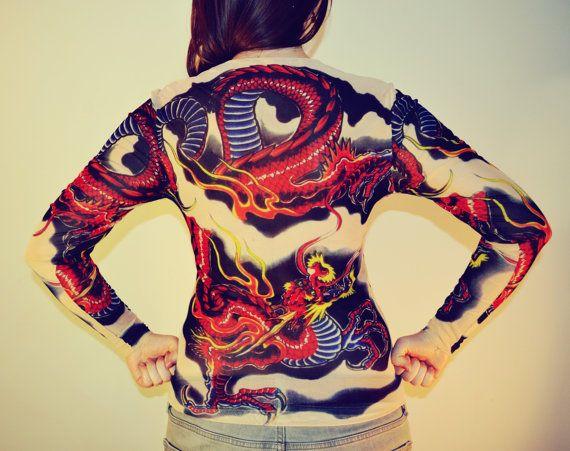 Tattoo T-Shirt Japanese YAKUZA Fly dragon T-shirt by GONNICHIWA
