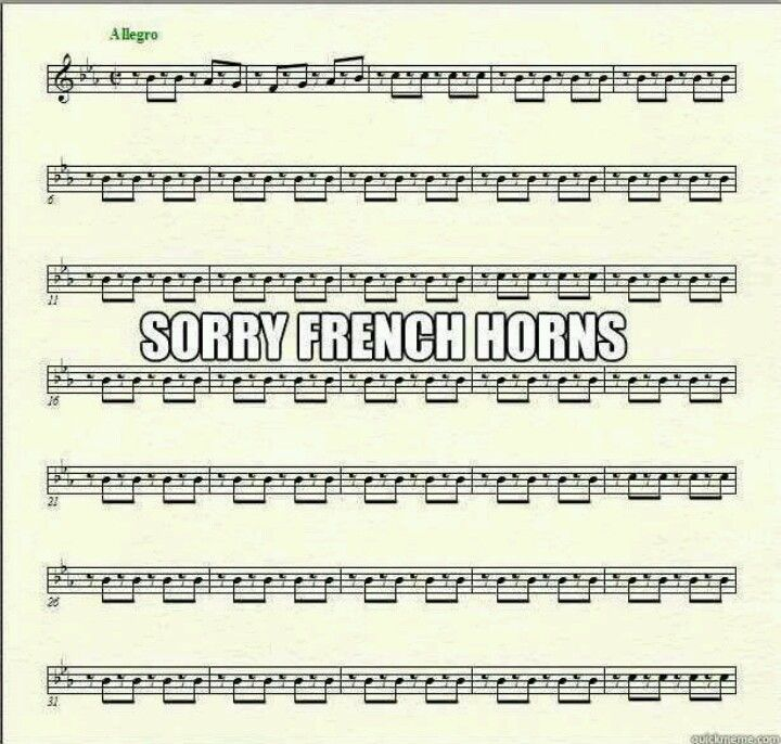 Lol :p This is what EVERY stinkin' French horn part looks like in a march!!