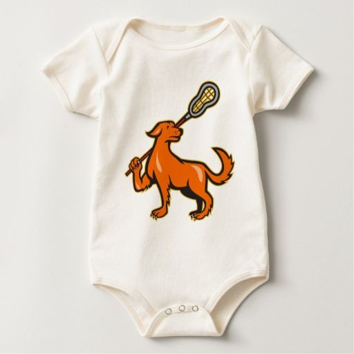 Dog With Lacrosse Stick Side View Baby Bodysuit. Baby bodysuit with an illustration of a dog holding a lacrosse stick viewed from the side on isolated white background. #lacrosse #crosse #babyclothes