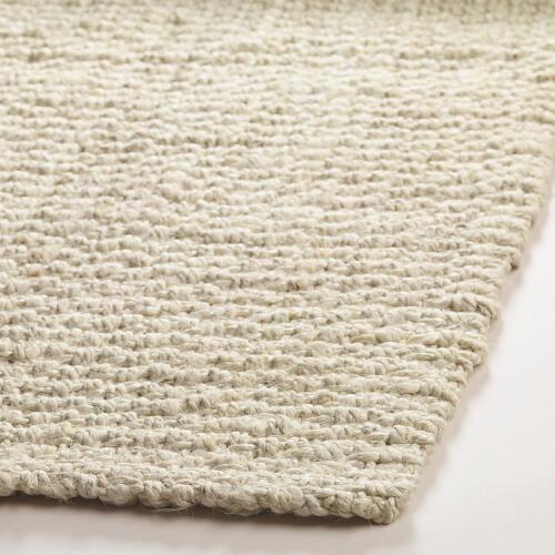 Bleached Ivory Basket Weave Jute Rug | World Market