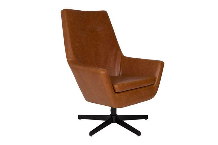 Dutch bone - Lounge chair don cognac - What is Hip - De perfecte lounge stoel met zijn stijlvolle design en zeer comfortabele zit!