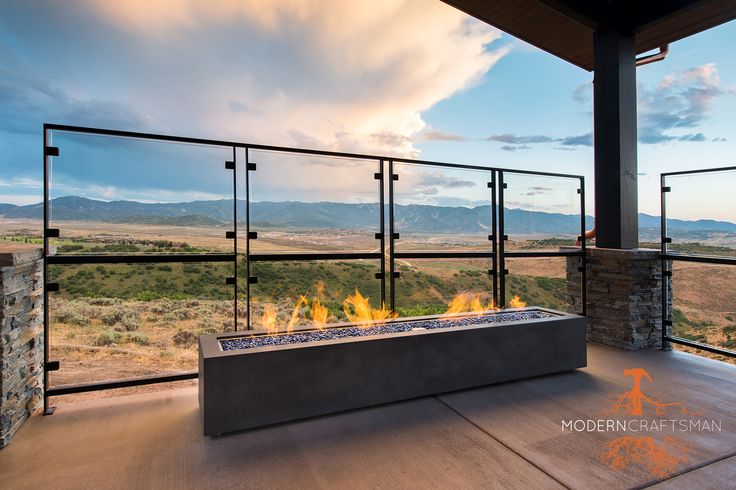 Outdoor Organicrete® Concrete Fire Pit. Custom Residential Design from Modern Craftsman