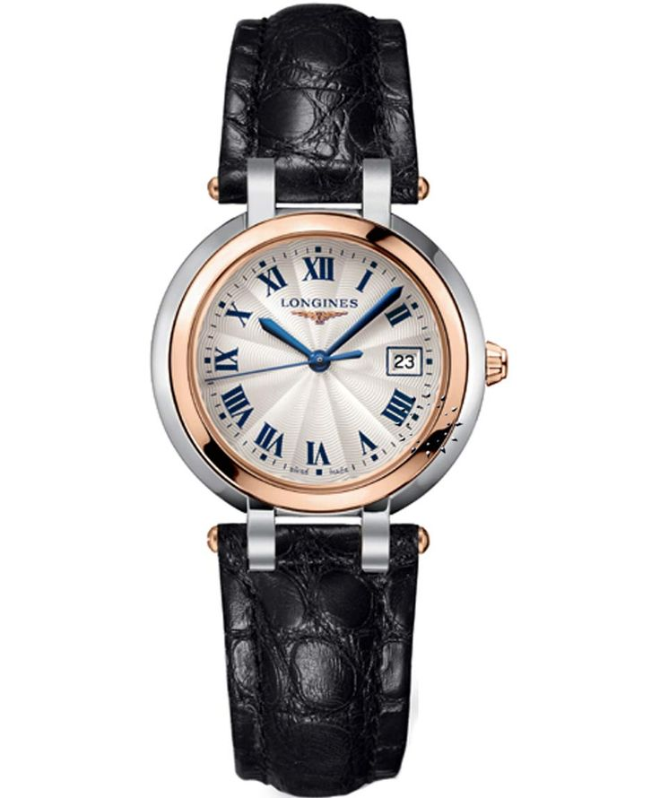 LONGINES PrimaLuna Two-Tone Black Leather Strap Τιμή: 1.340€ http://www.oroloi.gr/product_info.php?products_id=34366