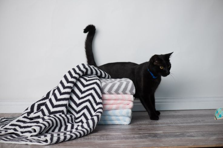 Living Textiles Baby chevron Knitted blanket baby nursery cat