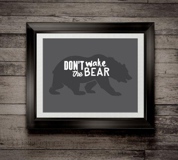 Custom Home Decor- Don't Wake The Bear Outdoor Nursery Theme Wall Art