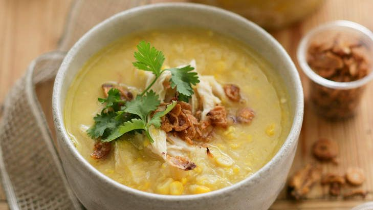 Chicken and sweetcorn soup. Caroline Velik CARE PACKAGES recipes for Epicure. Photographed by Marina Oliphant. Food preparation and styling by Caroline Velik. All props stylist's own. 090220.