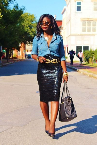 "chambray shirt sequin skirt | Black Sequins Asos Skirts, Blue Chambray Nobo Shirts | "":Chambray and ..."