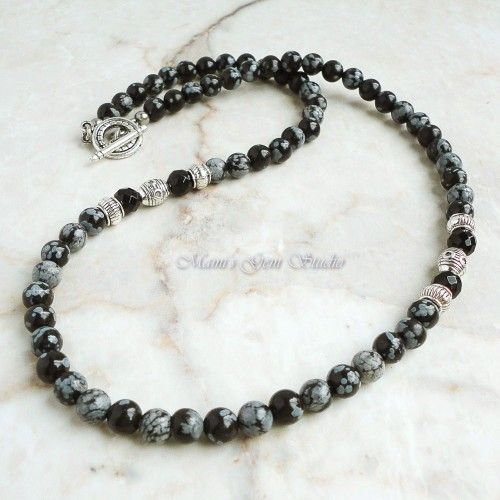 Mens Jewelry, Beaded Necklace for Men, Snowflake Obsidian, Black Onyx