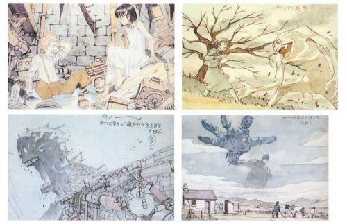 Unused image-boards for Fushigi no umi no Nadia movie by Tatsuyuki Tanaka (Cannabis Works).
