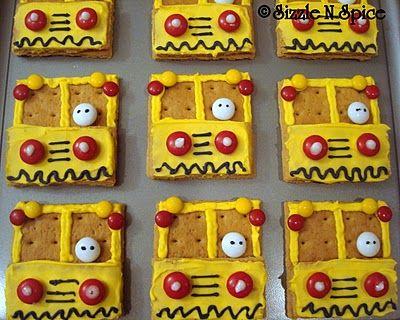 Cute and easy school bus cookies.