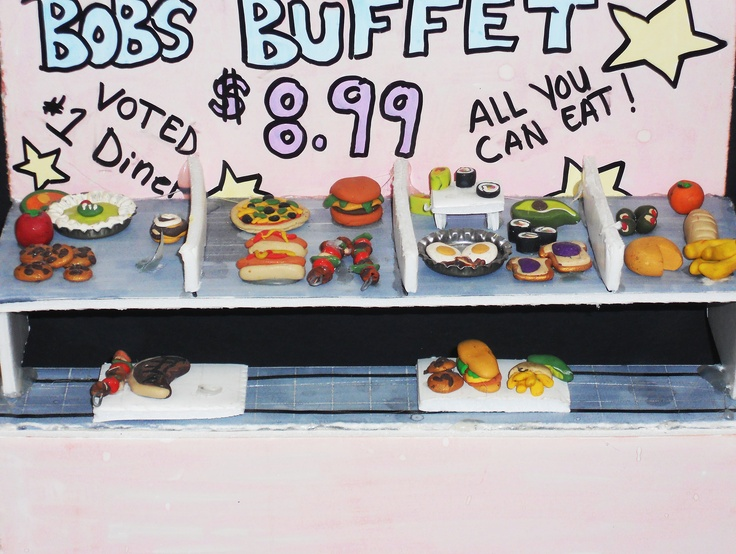 3d mini Buffet made with mat board,foam core, markers and model magic clay. Kids loved it :)
