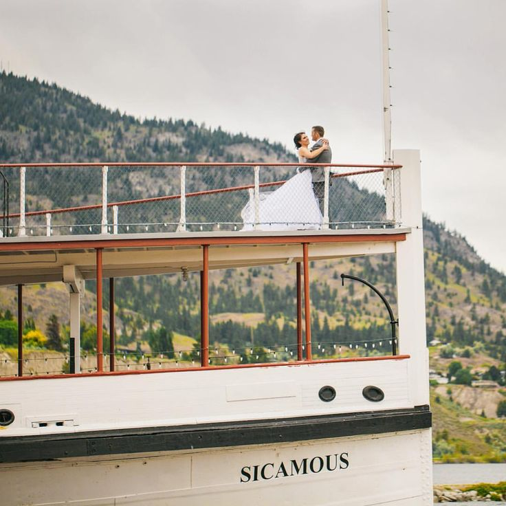 "Justine Russo, Photographer on Instagram: ""The SS Sicamous was a backup plan in case of rain. It didn't rain, and I'm so glad we took the chance and headed to the Sicamous anyway! Congrats Scott and Kara!!!""  Wonderful shot of the bride and groom on the bow of the SS Sicamous, a wedding venue in the Okanagan."