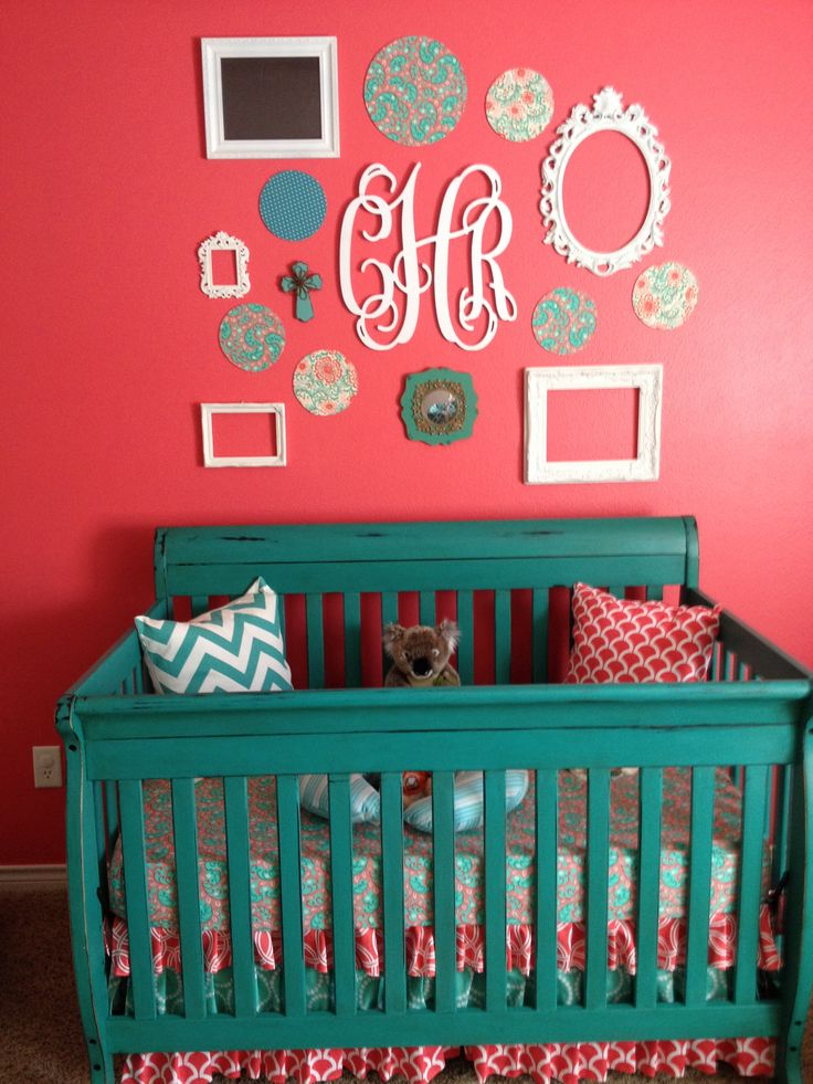 Chalk paint crib with ruffled crib skirt