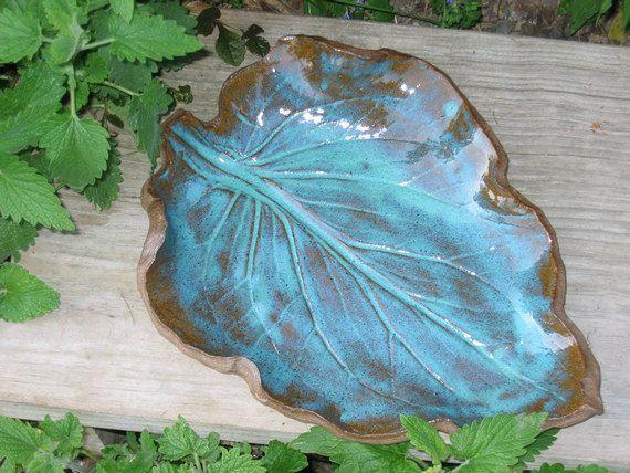 Handbuilt Pottery Plate Leaf Platter by MalloryvillePottery, $45.00