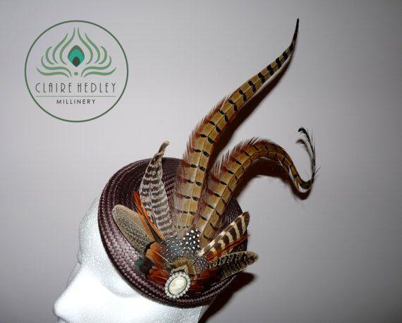Pheasant feather brown buntal pillbox cocktail hat
