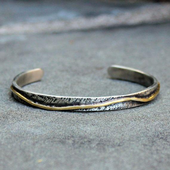 Sterling Silver Gold Cuff -  Rustic Silver and Gold Cuff Bracelet