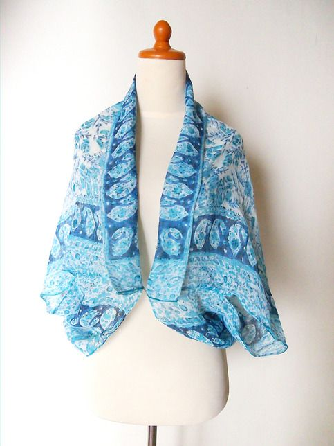 Hand Made Batik Blue Printed Shawl. This shawl is more than just an ordinary item you have. its multifunctional, so you can wear it as a shawl or folding it and wear it as a scarf.  since my hobby is travelling, this item actually my best travelling partner, because its easy to bring, very ligh...