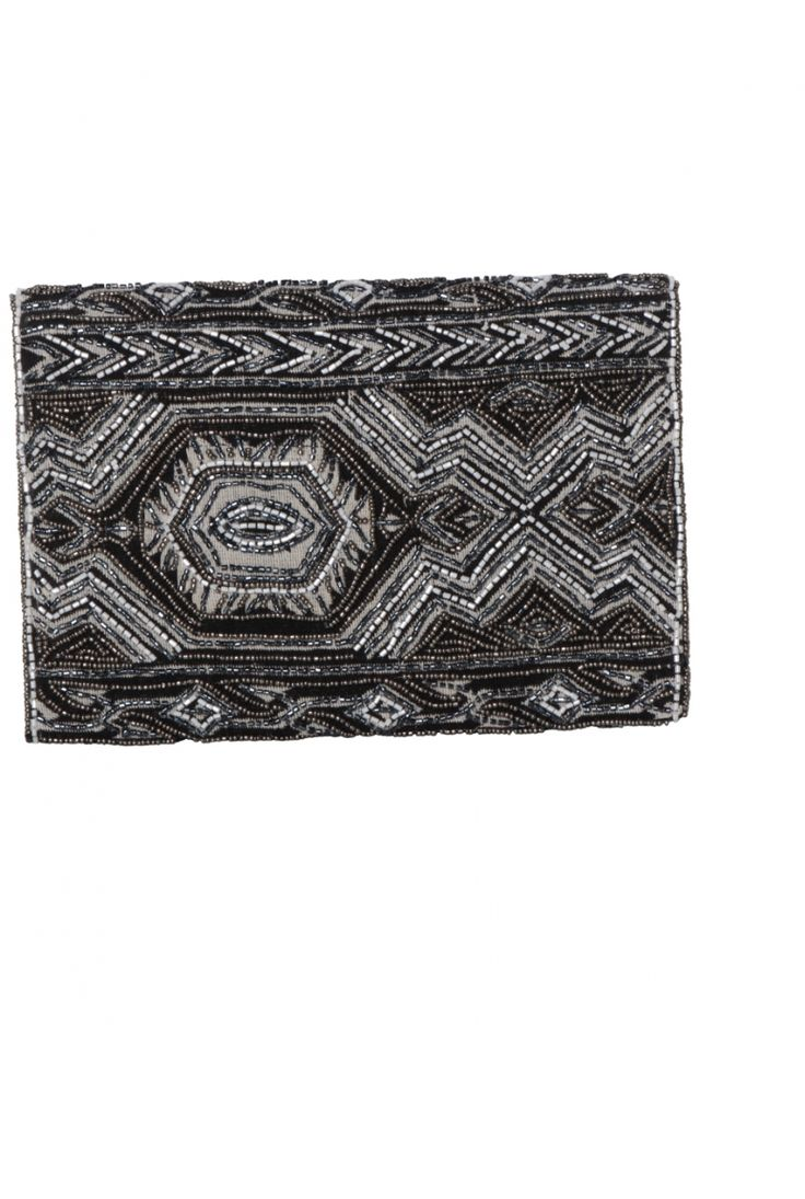 Pochette de soirée argentée grise et blanche perlée à motifs géométriques
