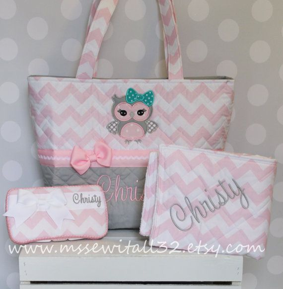 XL Quilted / Owl Applique Pink Chevron / Zig Zag Diaper Bag Set - Personalized Diaper Bag Set - Changing Pad - Wipes Case on Etsy, $88.00