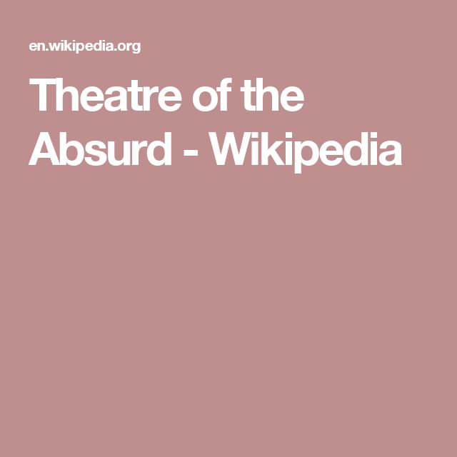 Theatre of the Absurd - Wikipedia