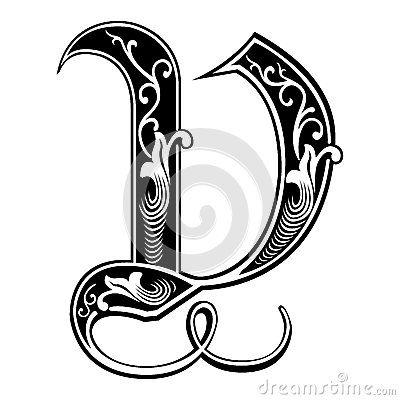 Garnished Gothic style font, letter V