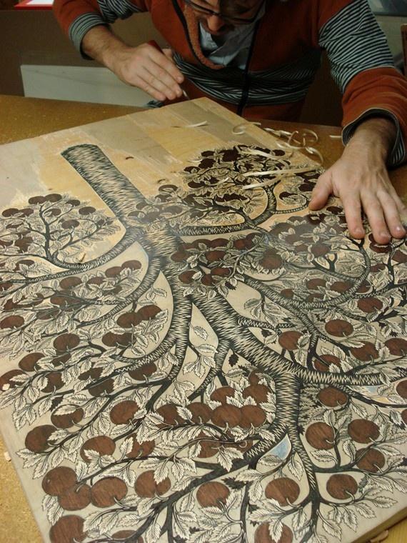 Wood block carving