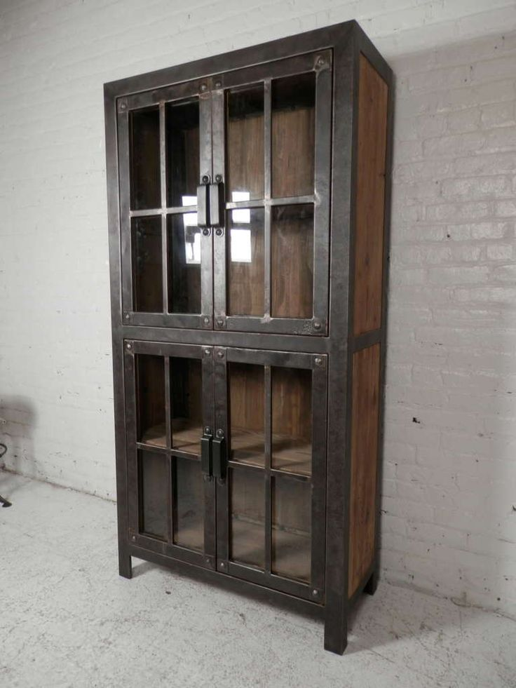 Reclaimed Iron And Wood Glass Door Cabinet | From a unique collection of antique and modern cabinets at http://www.1stdibs.com/furniture/storage-case-pieces/cabinets/