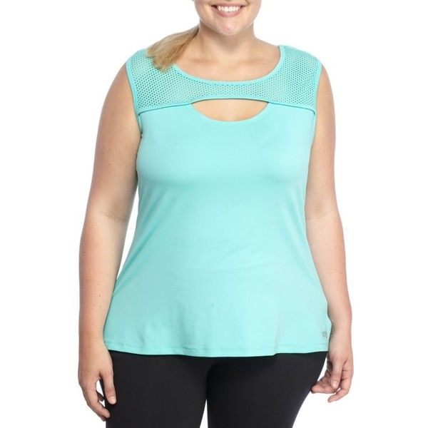 Marika Curves  Plus Size Eclectic Tank ($42) ❤ liked on Polyvore featuring plus size women's fashion, plus size clothing, plus size activewear, plus size activewear tops, plus size, pool blue, women's plus size activewear, marika sportswear, marika activewear and plus size sportswear