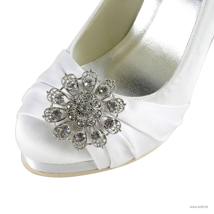 """outdoor bridesmaid dresses Gorgeous 4"""" Crystal Brooch Ruffle Pumps - White Satin Wedding Shoes  $70.98"""