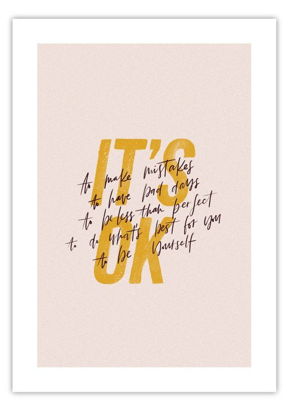Its Ok Quote A5a4 And A3 Art Print Home Decor Typography Etsy It Will Be Ok Quotes Art Prints Quotes Lettering