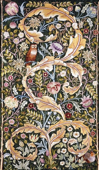 William Morris / John Henry Dearle Owl Wall Hanging  Textile Design