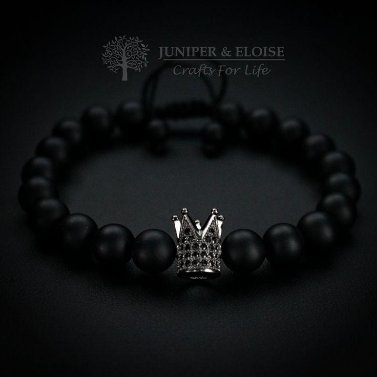 Crown Bracelet, Mens Bracelet, Womens Bracelet, King and Queen, Black Crown, Valentine's Day Gift, Gemstone Bracelet, Zircon Jewelry, Royal by JuniperandEloise on Etsy