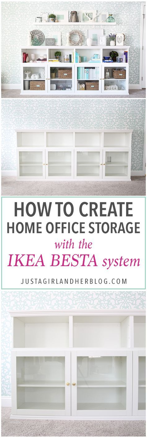 I love this IKEA BESTA hack to make a beautiful storage unit for a home office! And she tells you exactly how to do it too! | IKEA BESTA, IKEA hack, BESTA system, home office, DIY, trim work, office storage, office organization, organized office, shelf styling, bookshelf styling, styled shelves, functional and beautiful, attaching trim pieces to IKEA BESTA, crown molding, top trim pieces, styled bookcase from side view, How to Create Home Office Storage with the IKEA BESTA System