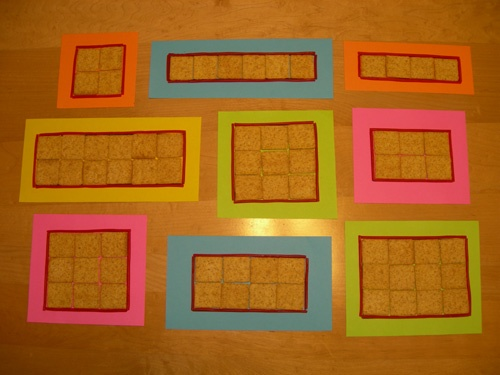 I like the idea of teaching area & perimeter of a rectangle all in one short lesson  with Wheat Thins and Pull-Apart Twizzlers because I can more easily differentiate inside (area) vs. outside (perimeter) by referencing Wheat Thins vs. Twizzlers.