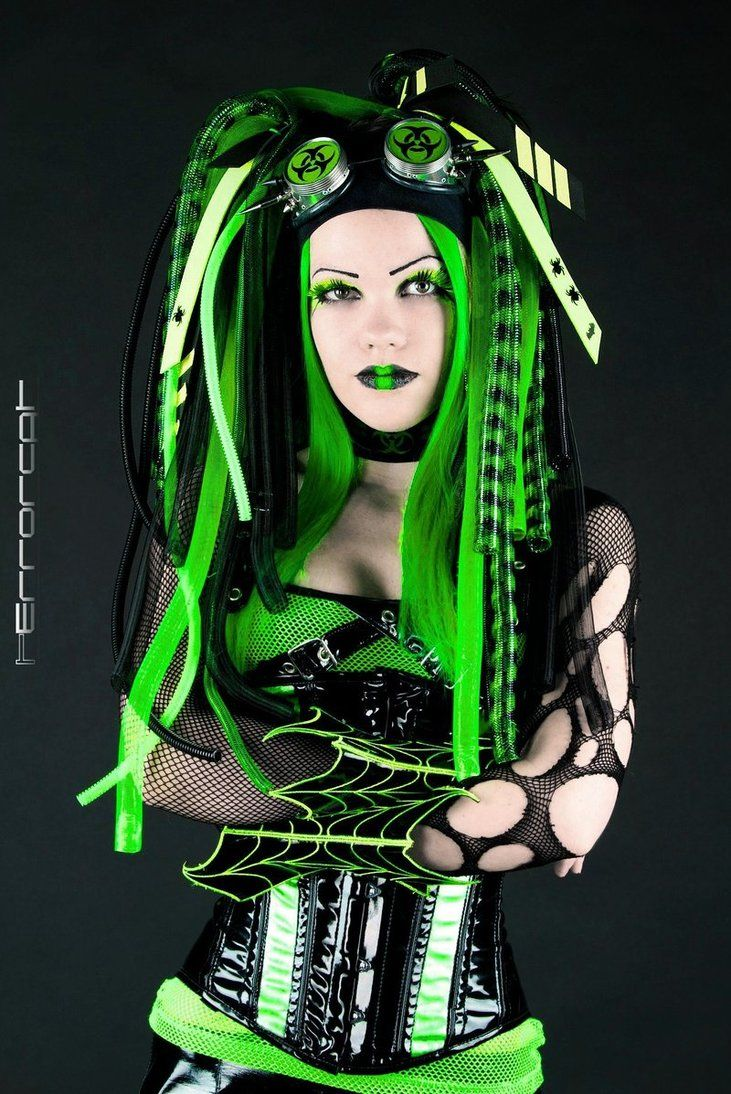 Cyber goth: a subculture that derives from elements of cyberpunk, goth, raver, and rivethead fashion. Unlike traditional goths, Cybergoths follow electronic dance music more often than rock.