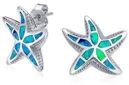 Bling Jewelry Nautical Synthetic Blue Opal Starfish Sterling Silver Stud Earrings.
