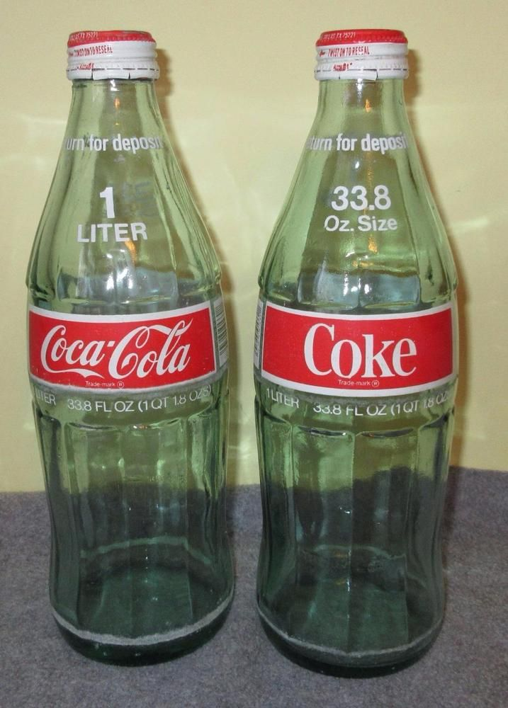 2 Vintage Coca Cola 1 Liter 33 8 Oz Green Glass Bottles With
