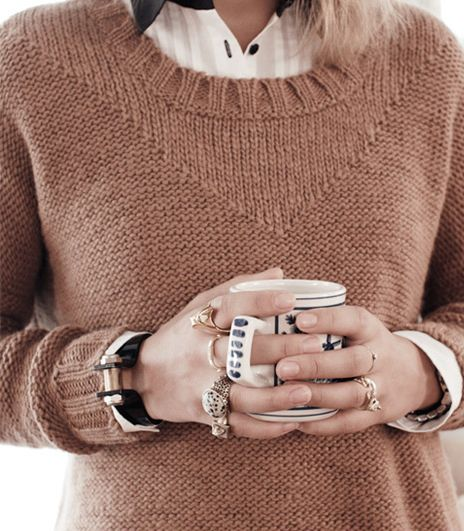 Knitting inspiration: stockinette and reverse stockinette create this simple neckline